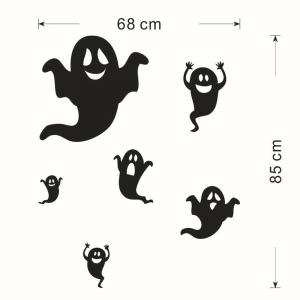 Home Decor DIY Halloween Ghost Shape Wall Stickers - BLACK