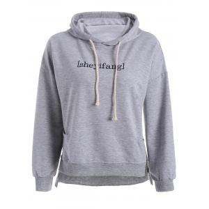Drop Shoulder High Low Embroidered Plus Size Hoodie