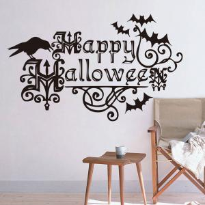 Home Decor DIY Happy Halloween Shape Wall Stickers - Black - W71 Inch*l79 Inch