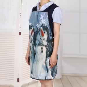Snowman Family Print Waterproof Kitchen Apron -