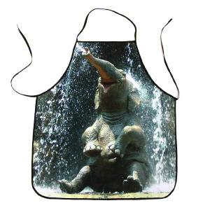 Elephant Bathing Print Waterproof Kitchen Cooking Apron - Black Grey - 80*70cm