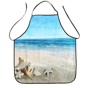 Beach Conch Starfish Print Waterproof Kitchen Apron