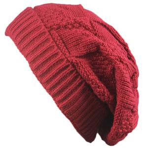 Trangle Stripe Knitted Folding Beanie - Red