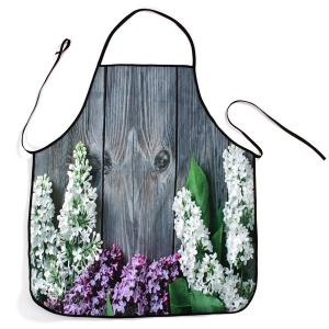 Floral Wood Floor Print Waterproof Kitchen Apron