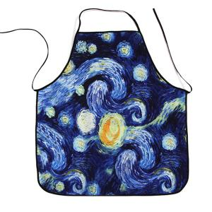 Galaxy Painting Print Waterproof Kitchen Apron - Blue - 80*70cm