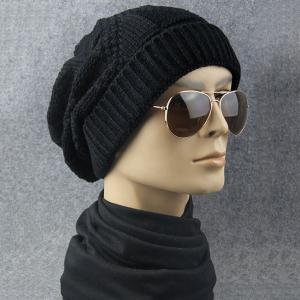 Trangle Stripe Knitted Folding Beanie - Black - One Size
