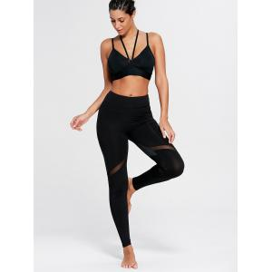 Heart Pattern Mesh Panel Workout Leggings - BLACK L