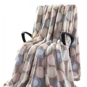 Round Print Bedroom Soft Throw Blanket - LIGHT BLUE DOT PATTERN EURO KING
