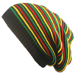 Pinstriped Iridescence Knitting Folding Beanie - Colorful