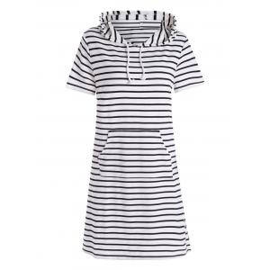 Plus Size Pocket Striped Hooded Tee Dress