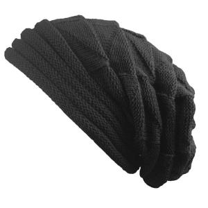 Triangle Knitted Fold Warm Beanie Hat - Black