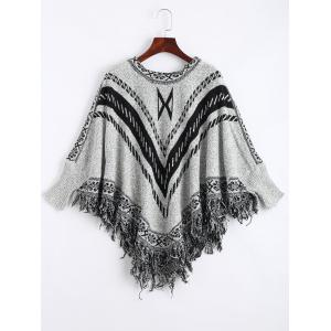 Jacquard Fringed Plus Size Poncho Sweater - Gray - One Size