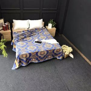 Flower Printed Throw Naked Sleep Blanket - BLUE EURO KING