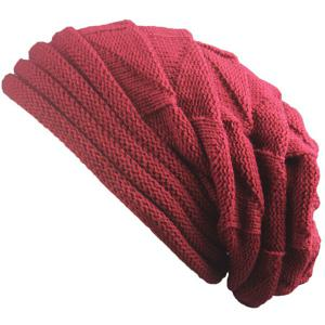 Triangle Knitted Fold Warm Beanie Hat - Claret
