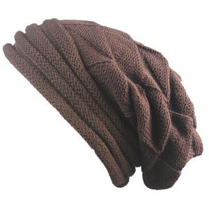 Triangle Knitted Fold Warm Beanie Hat - Coffee