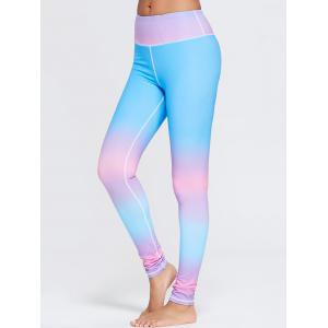 Rainbow Printed Ombre Gym Leggings - Blue - L