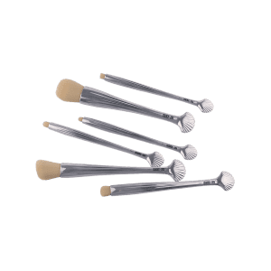 6Pcs Plating Tiny Shell Facial Makeup Brushes Set - Argent