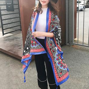 Ethnic Flowers Printed Cotton Blended Shawl Scarf - BLUE