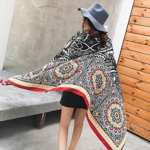 Ethnic Flowers Printed Cotton Blended Shawl Scarf - BLACK