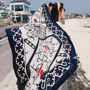 Boho Geometric Printed Tassels Shawl Scarf - PURPLISH BLUE