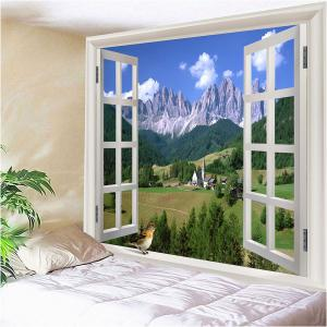 Window Landscape Waterproof Hanging Wall Tapestry - GREEN W79 INCH * L59 INCH