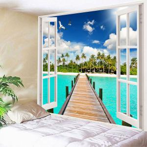 Coconut Trees Wooden Bridge Waterproof Wall Tapestry - GREEN W79 INCH * L59 INCH