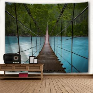 Wall Art Suspension Bridge Landscape Tapestry - COLORMIX W79 INCH * L71 INCH