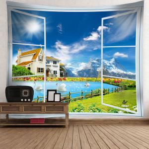Window Swans Lake Scenery Wall Waterproof Tapestry - GREEN W59 INCH * L51 INCH