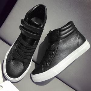 Stitching High Top Athletic Shoes - BLACK 38