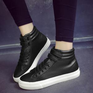 Stitching High Top Athletic Shoes - BLACK 39