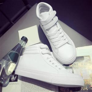 Stitching High Top Athletic Shoes - Blanc 40
