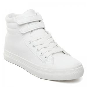 Stitching High Top Athletic Shoes - White - 38