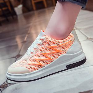 Faux Leather Insert Breathable Athletic Shoes - BRIGHT ORANGE 40