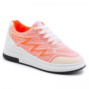 Faux Leather Insert Breathable Athletic Shoes - Bright Orange - 38