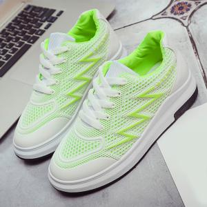 Faux Leather Insert Breathable Athletic Shoes - NEON GREEN 37