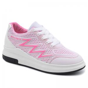 Faux Leather Insert Breathable Athletic Shoes - Pink - 38