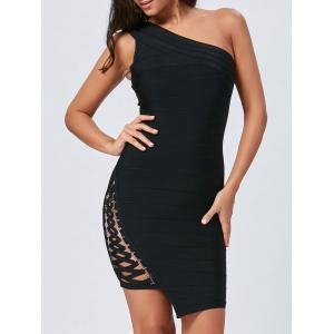 Bodycon Lace Up One Shoulder Bandage Dress - Black - L