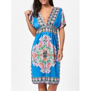 Backless Aztec Print Plunge Shift Dress