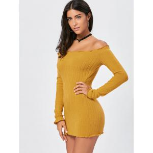 Off The Shoulder Mini Sweater Dress - YELLOW XL