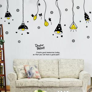 Cartoon Ceiling Lamp Letters Removable Wall Art Stickers - Black