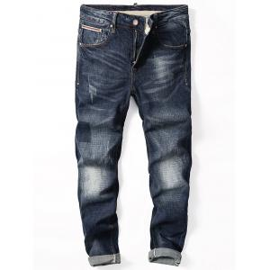 Zip Fly Straight Cuffed Jeans
