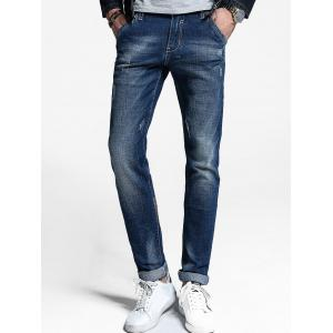 Zip Fly Straight Cuffed Jeans - Denim Blue - 36
