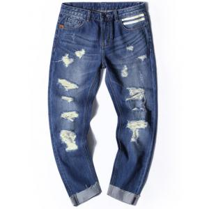 Cuffed Distressed Nine Minutes of Jeans
