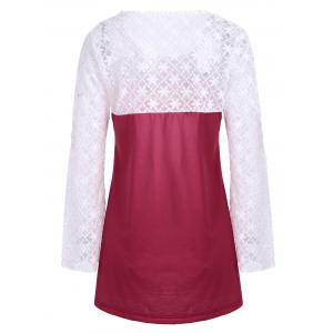 Lace Panel Long Sleeve Ombre Top - RED S