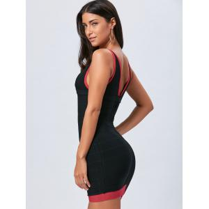 V Neck Bodycon Robe de vendange - Noir S