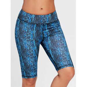 Abstract Printed Tight Workout Shorts - BLUE XL