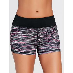 Sports Colorful Marled Mini Tight Shorts - BLACK S