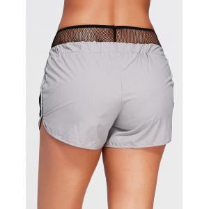 Elastic Waist Running Shorts with Fishnet Pocket -