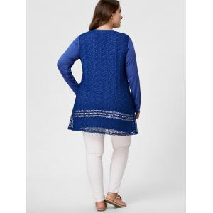 Long Sleeve Plus Size Crochet Tunic Top - BLUE XL