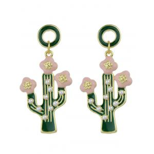 Faux Pearl Insert Cactus Pendant Earrings